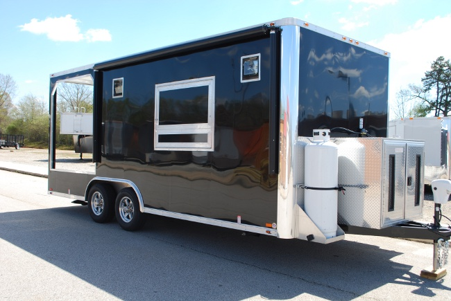 20' Black Concession BBQ Smoker Trailer